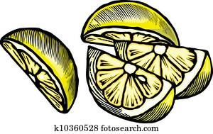 Drawing of lemon wedges