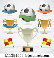 European footbal design elements: trophy, ball and referee flag.
