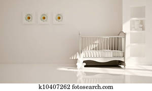 Minimal modern interior of nursery