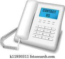 Modern white telephone