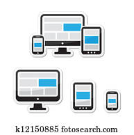 Responsive design for web icons set