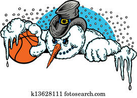 cartoon snowman with a basketball
