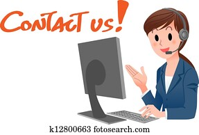 Contact us! Customer service woman