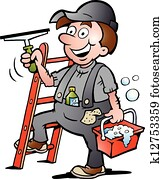 illustration of an Window Cleaner