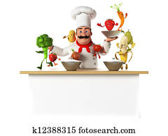 Kitchen chef and vegetables