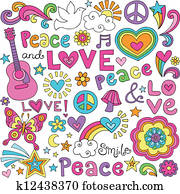 Peace, Love, Music Groovy Doodles