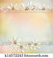 Wedding background with flowers for congratulations and invitations