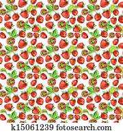 strawberry seamless texture in watercolor