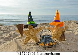 Halloween starfish on the beach
