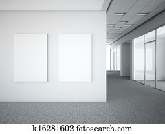 office interior with two white frames