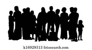 large group of people silhouettes set 2