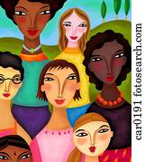 Women of different ethnicities standing together