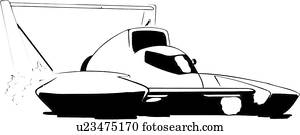 illustration, lineart, boat, hydroplane, racing