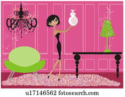 Young woman dressed up placing vase in living room