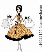Young woman in leopard pattern outfit with many shopping bags